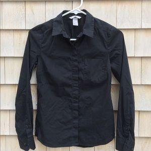 H&M black stretch button down shirt, size 4 (EUC)